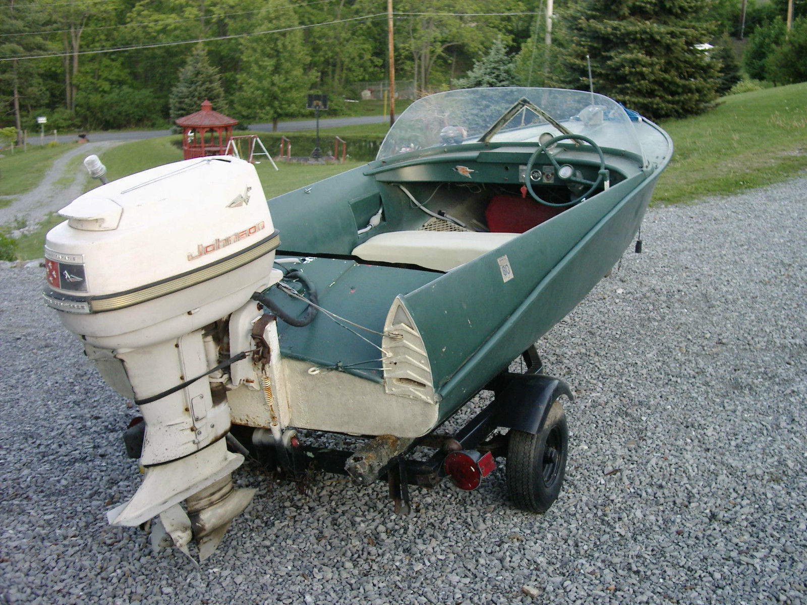 Crestliner Jetstreak Runabout Aluminum Feathercraft Johnson Outboard Antique 1959
